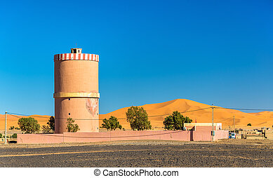 Water tower in Merzouga village at Sahara Desert, Morocco
