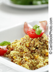 Risotto with meat and vegetable