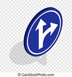 Turn right road sign isometric icon