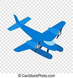 Blue small plane isometric icon 3d on a transparent...