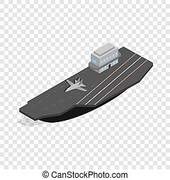 Ship with landing strip for airplanes isometric icon 3d on a...