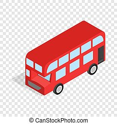 English red bus isometric icon 3d on a transparent...