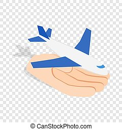 Hand holding plane isometric icon 3d on a transparent...