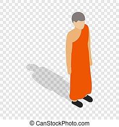 Buddhist monk wearing orange robe isometric icon