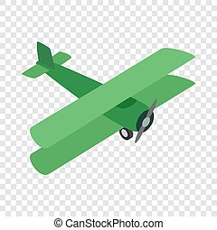 Green plane isometric icon 3d on a transparent background...