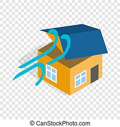 Hurricane destroyed house isometric icon 3d on a transparent...