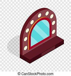 Mirror with bulbs for makeup isometric icon 3d on a...