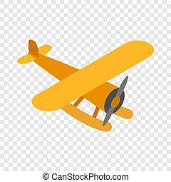 Orange plane isometric icon 3d on a transparent background...