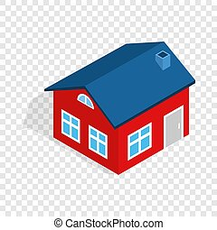 House with attic isometric icon 3d on a transparent...