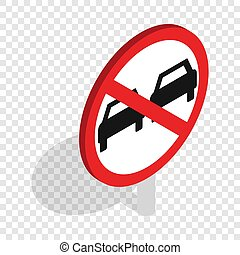No overtaking sign isometric icon 3d on a transparent...