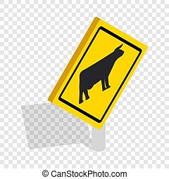 Cattle traffic warning isometric icon 3d on a transparent...
