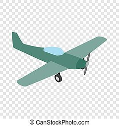 Small plane isometric icon 3d on a transparent background...