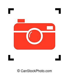 Digital photo camera sign. Vector. Red icon inside black...