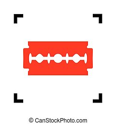 Razor blade sign. Vector. Red icon inside black focus corners on white background. Isolated.