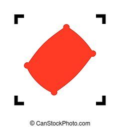 Pillow sign illustration. Vector. Red icon inside black...