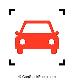 Car sign illustration. Vector. Red icon inside black focus corners on white background. Isolated.