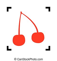 Cherry sign illustration. Vector. Red icon inside black focus corners on white background. Isolated.