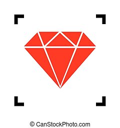 Diamond sign illustration. Vector. Red icon inside black focus corners on white background. Isolated.