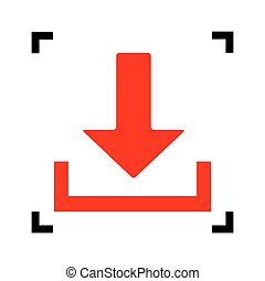 Download sign illustration. Vector. Red icon inside black focus corners on white background. Isolated.