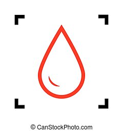 Drop of water sign. Vector. Red icon inside black focus corners on white background. Isolated.