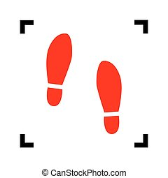 Imprint soles shoes sign. Vector. Red icon inside black...