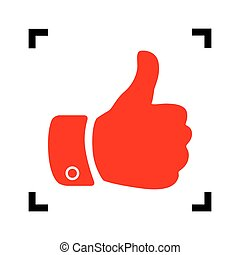 Hand sign illustration. Vector. Red icon inside black focus corners on white background. Isolated.