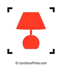 Lamp sign illustration. Vector. Red icon inside black focus corners on white background. Isolated.