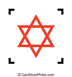 Shield Magen David Star. Symbol of Israel. Vector. Red icon...