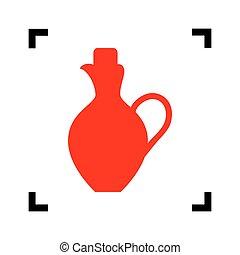 Amphora sign illustration. Vector. Red icon inside black...