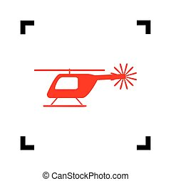 Helicopter sign illustration. Vector. Red icon inside black focus corners on white background. Isolated.