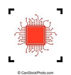 CPU Microprocessor illustration. Vector. Red icon inside...