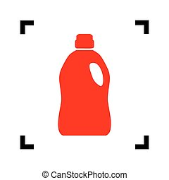 Plastic bottle for cleaning. Vector. Red icon inside black...