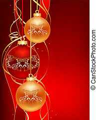 red christmas postcard - beautifull red christmas ball...