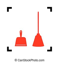 Dustpan vector sign. Scoop for cleaning garbage housework dustpan equipment. Vector. Red icon inside black focus corners on white background. Isolated.