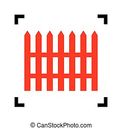 Fence simple sign. Vector. Red icon inside black focus corners on white background. Isolated.