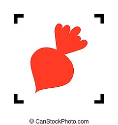 Beet simple sign. Vector. Red icon inside black focus...