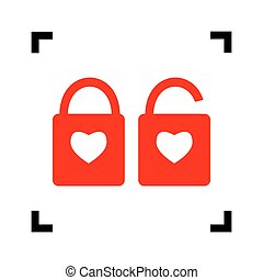 lock sign with heart shape. A simple silhouette of the lock. Shape of a heart. Vector. Red icon inside black focus corners on white background. Isolated.