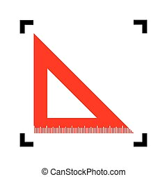 Ruler sign illustration. Vector. Red icon inside black focus corners on white background. Isolated.