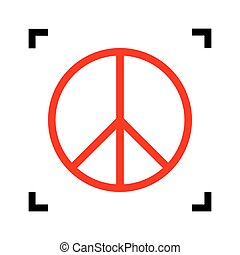 Peace sign illustration. Vector. Red icon inside black focus...