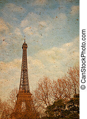 The Eiffel Tower in nightfall - paris Fran