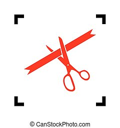 Ceremony ribbon cut sign. Vector. Red icon inside black focus corners on white background. Isolated.