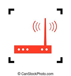 Wifi modem sign. Vector. Red icon inside black focus corners...