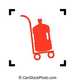 Plastic bottle silhouette with water. Big bottle of water on track. Vector. Red icon inside black focus corners on white background. Isolated.