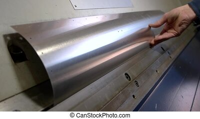 Metal sheet bending machine. Arched piece of steel. New...