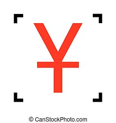 Chinese Yuan sign. Vector. Red icon inside black focus corners on white background. Isolated.