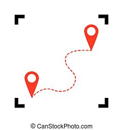Location pin navigation map, gps sign. Vector. Red icon inside black focus corners on white background. Isolated.