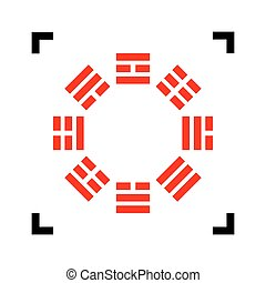 Bagua sign. Vector. Red icon inside black focus corners on...