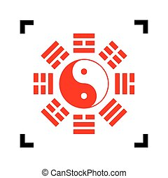 Yin and yang sign with bagua arrangement. Vector. Red icon...