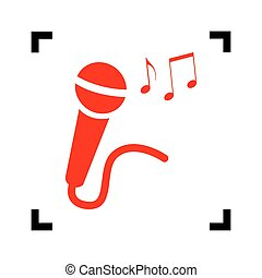 Microphone sign with music notes. Vector. Red icon inside black focus corners on white background. Isolated.