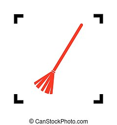 Sweeping broom sign. Vector. Red icon inside black focus corners on white background. Isolated.
